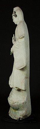 Standing marble Guan Yin statue