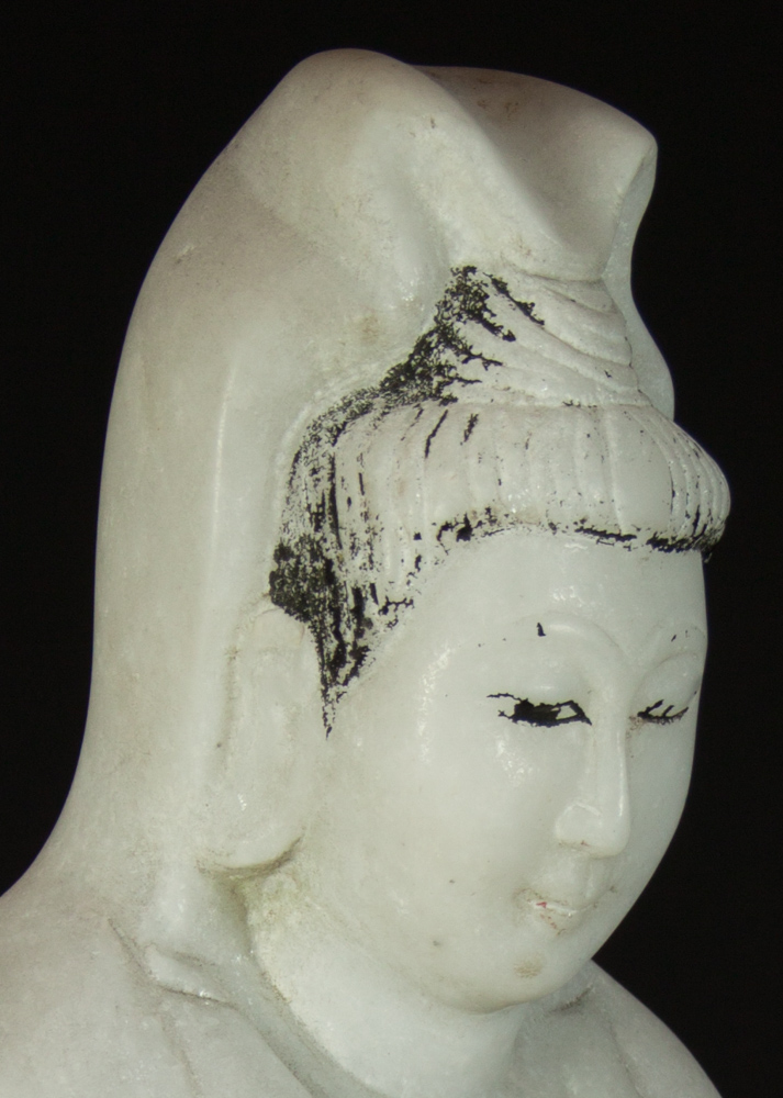 Standing marble Guan Yin statue from Burma made from Marble