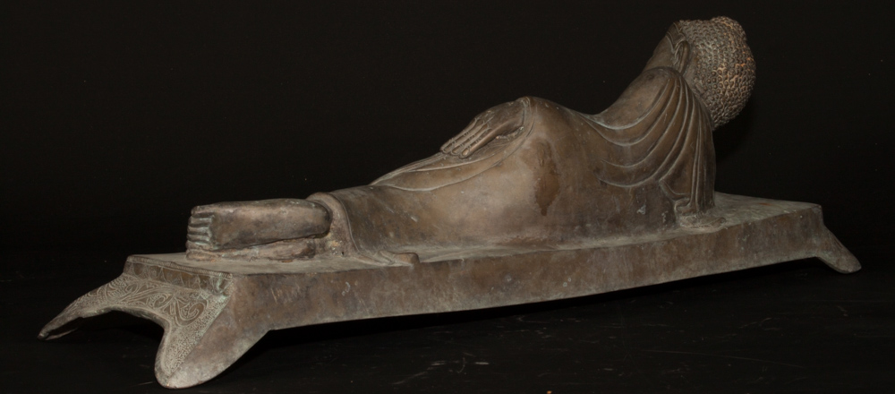 Antique bronze reclining Buddha statue from Burma made from Bronze
