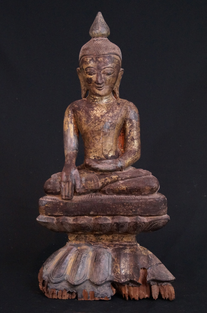 Antique wooden Ava Buddha from Burma