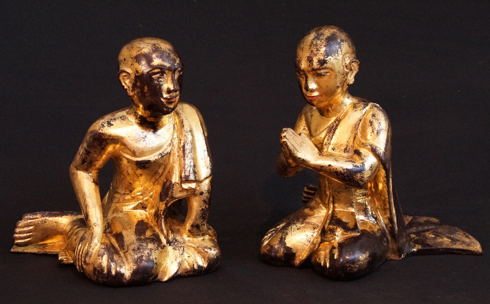 Antique pair of monks from Burma made from Wood