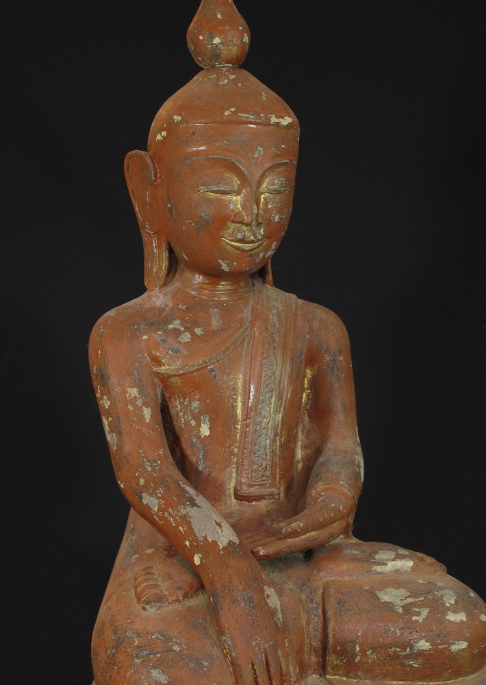 Antique lacquerware Buddha from Burma made from lacquer