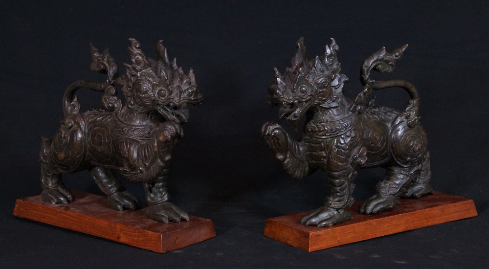 Pair of antique Chinese lions from China
