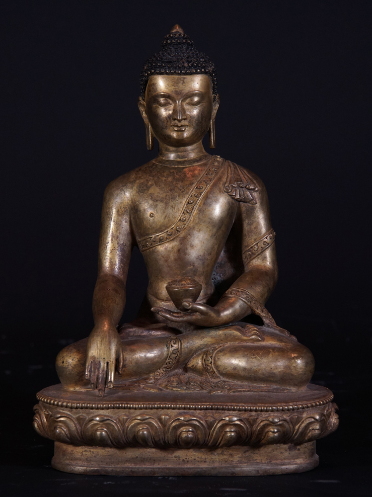 Old Nepali Buddha statue from Nepal made from Copper