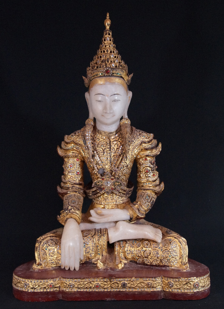 Antique Burmese crowned Buddha from Burma made from Wood