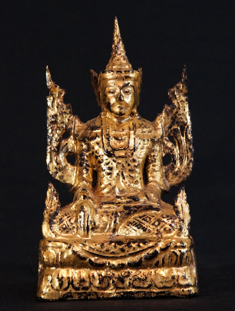 Antique Jambupati Buddha from Burma made from Wood