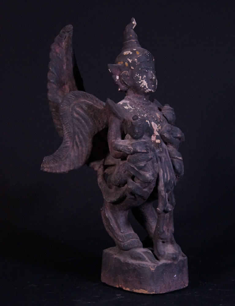 Antique Kinnari statue from Burma made from Wood