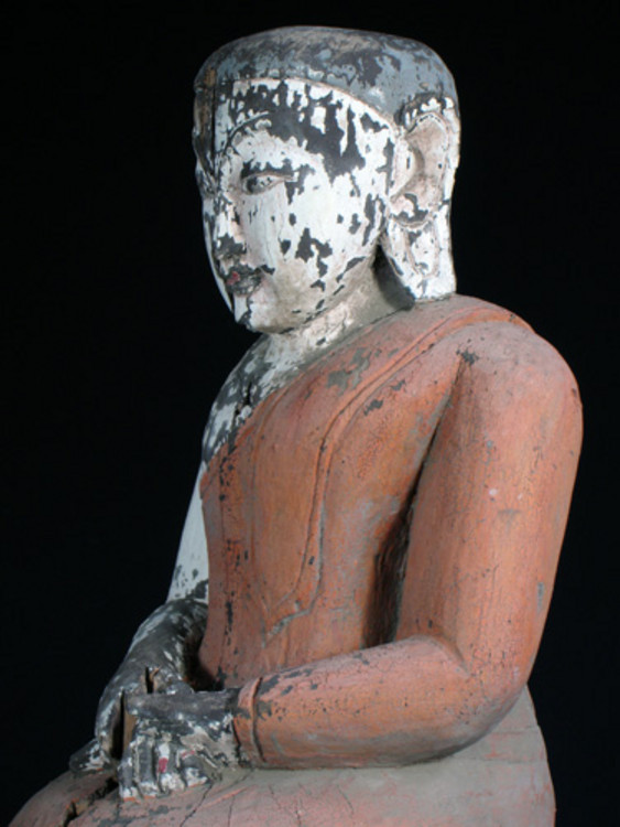Old kneeling monk from Burma made from Wood