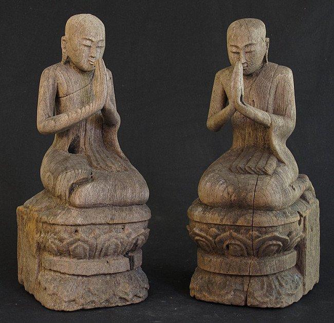Antique set of monk statues