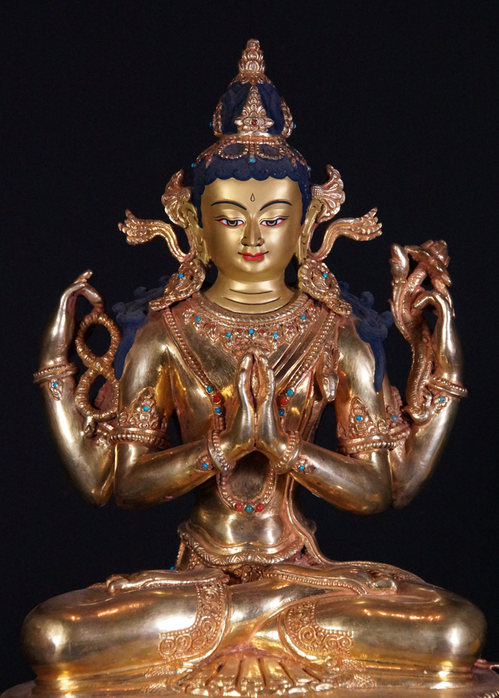 Copper Chengresi statue from Nepal made from Copper