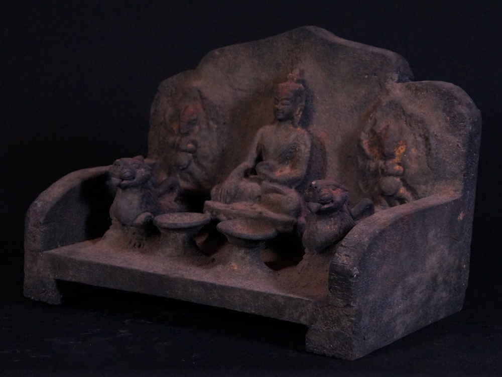 Old Nepali throne from Nepal made from Wood and Earthenware