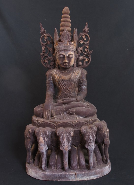 Antique crowned Buddha from Burma made from Wood