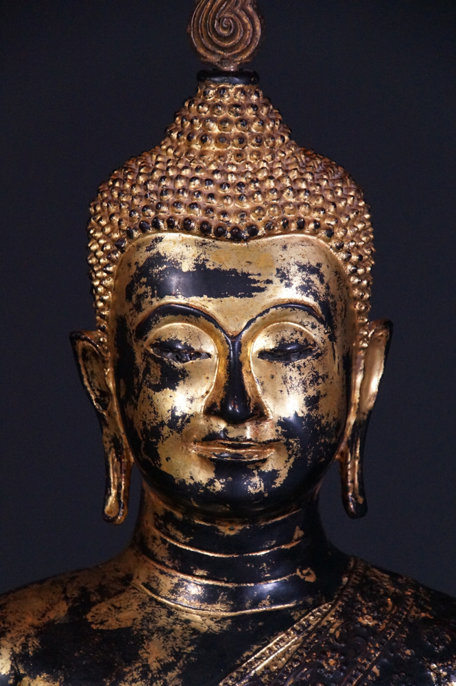 Antique Rattanakosin Buddha statue from Thailand made from Bronze
