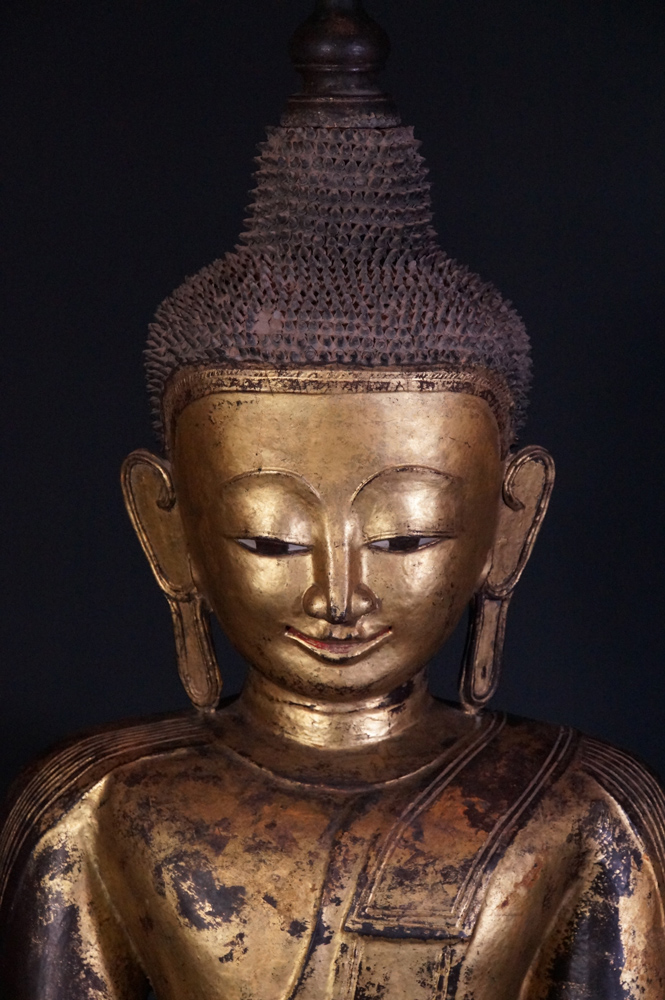 Very large Burmese Ava Buddha statue from Burma made from lacquer