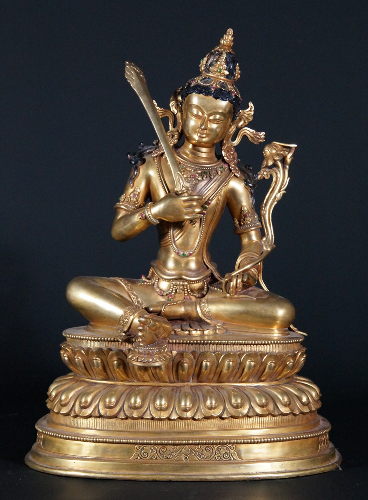 Old copper Manjushree statue from Nepal