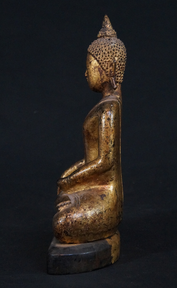 Antique Lanna Buddha statue from Thailand made from Wood