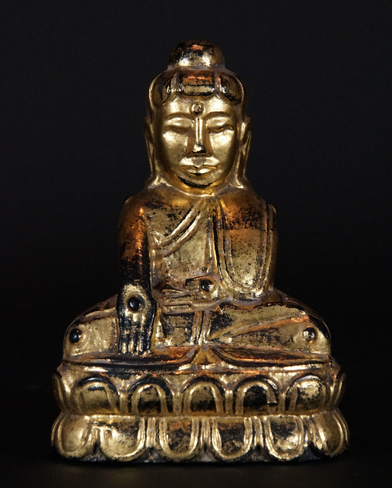Antique Lotus Buddha statue from Burma made from Wood