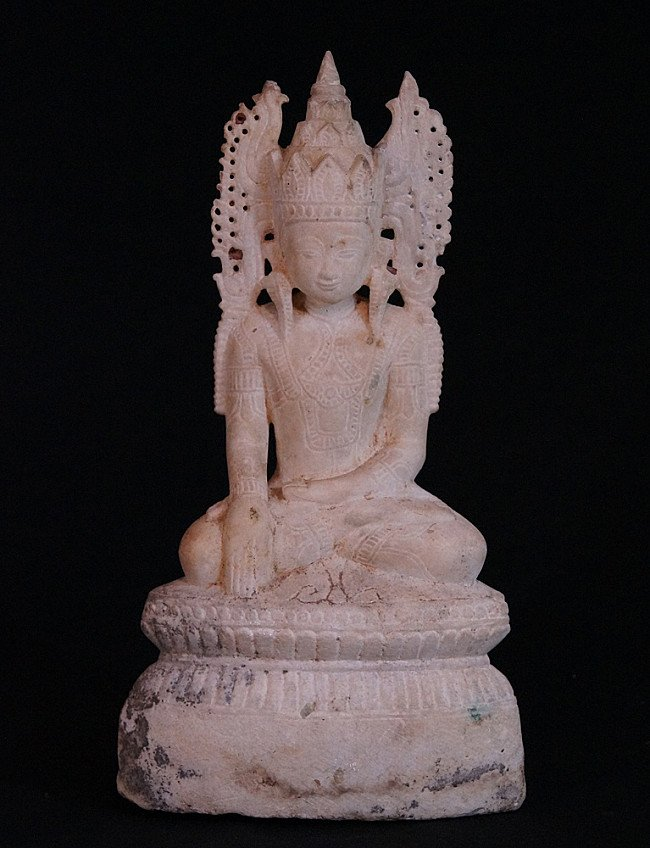Antique marble crowned Buddha