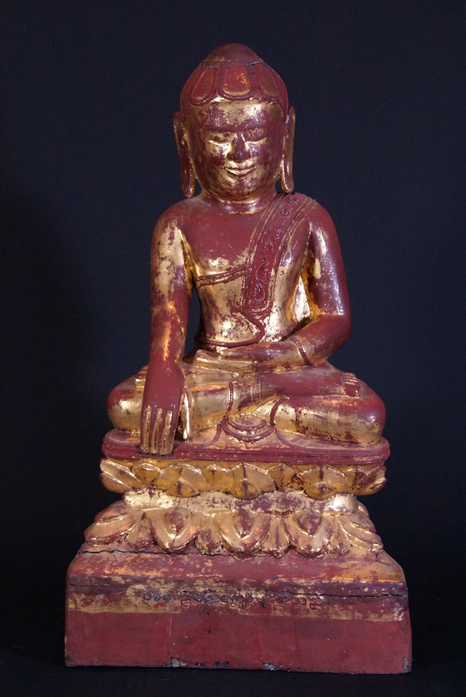 Large antique Lotus Buddha statue from Burma made from Wood