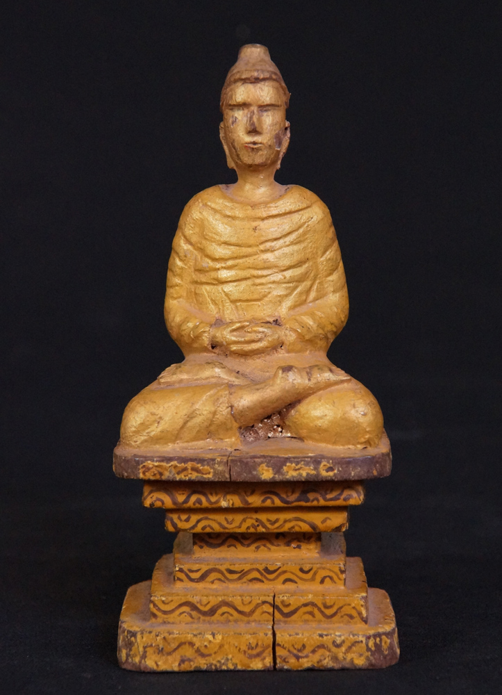 Antique Mon Buddha statue from Burma made from Wood
