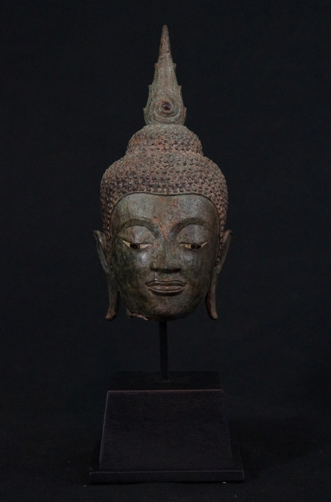 Antique Ayuthaya Buddha head from Thailand made from Bronze