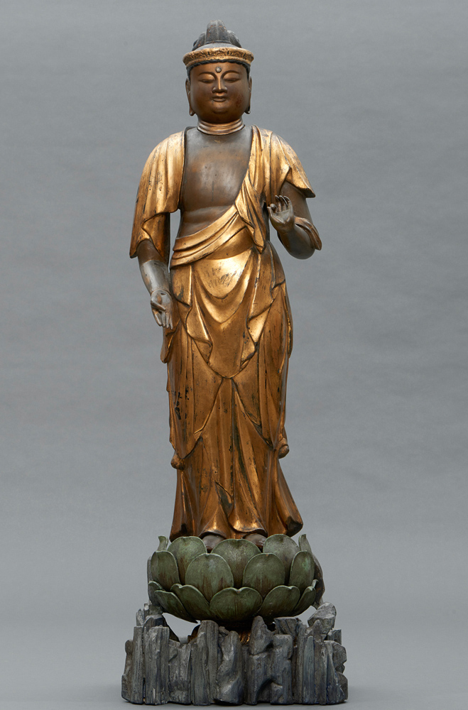 Large antique Amida Buddha statue from Japan made from Wood