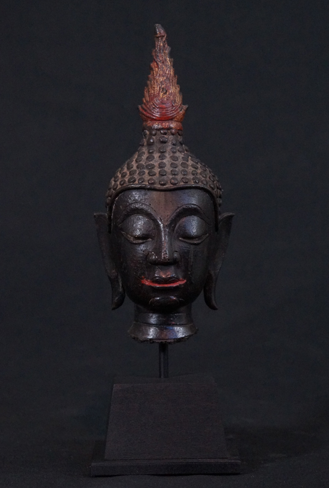 14-15th century Thai Buddha head from Thailand made from Bronze