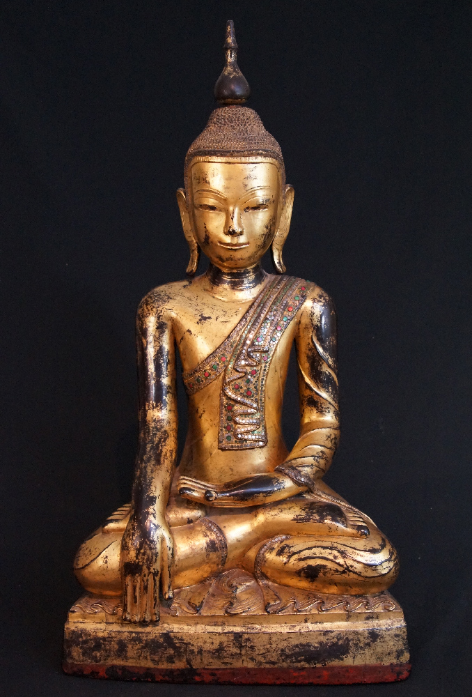 Antique Shan Buddha from Burma made from lacquer
