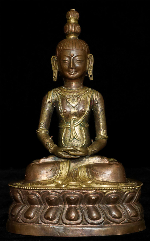 Antique copper Amitayus Buddha statue from Mongolia