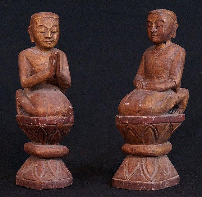 Set of wooden monks