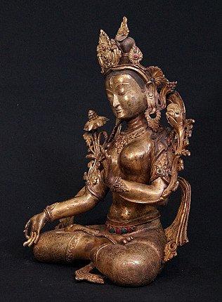 Large antique white tara statue