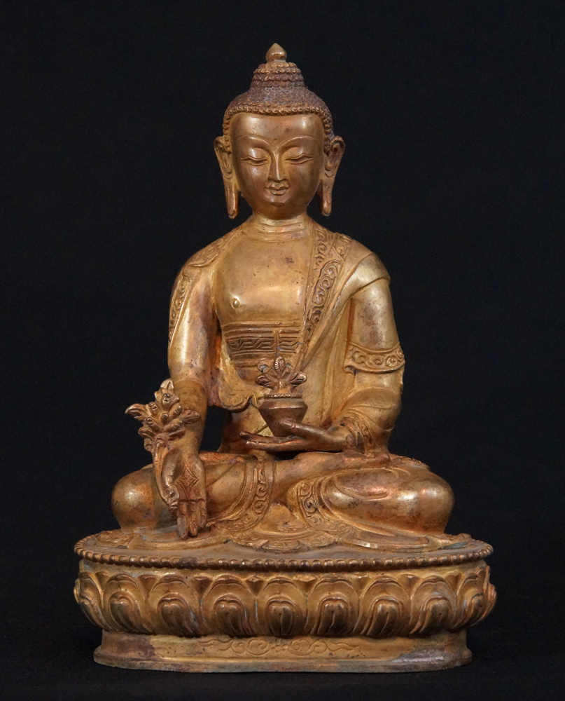 Old Nepali Medicine Buddha from Nepal made from Bronze