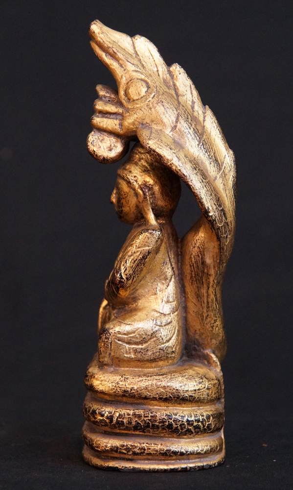 Buddha On Naga Snake From Burma Made From Wood