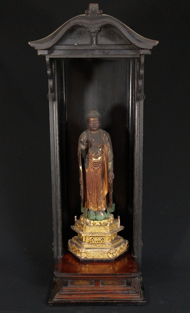 Antique Japanese Shrine with Amida Buddha from Japan made from Wood