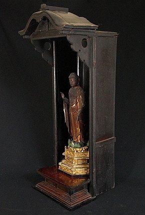Antique Japanese Shrine with Amida Buddha