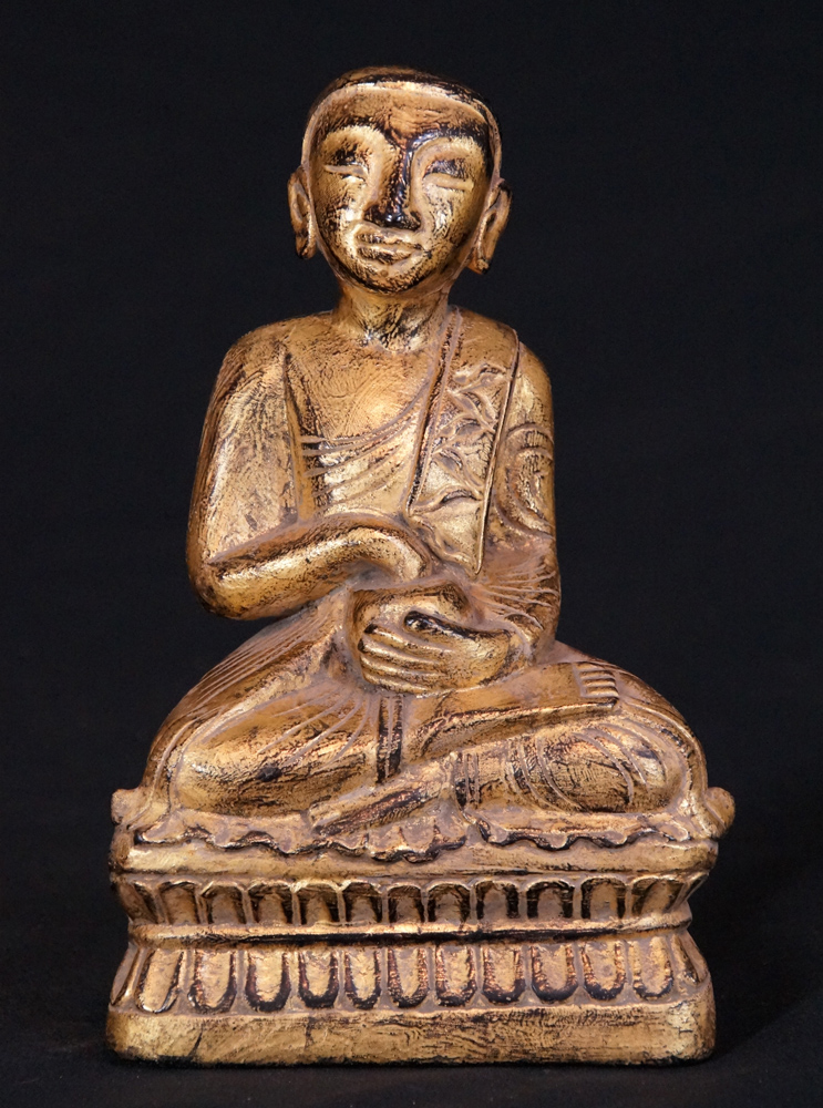 Antique wooden monk from Burma made from Wood