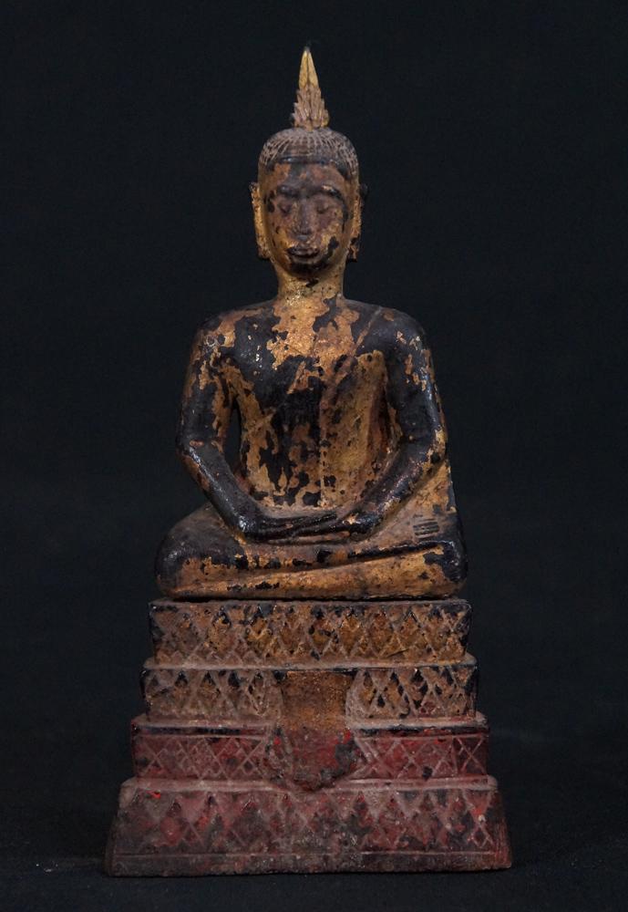 antiker thai ayutthaya buddha figur aus thailand gemacht aus holz. Black Bedroom Furniture Sets. Home Design Ideas