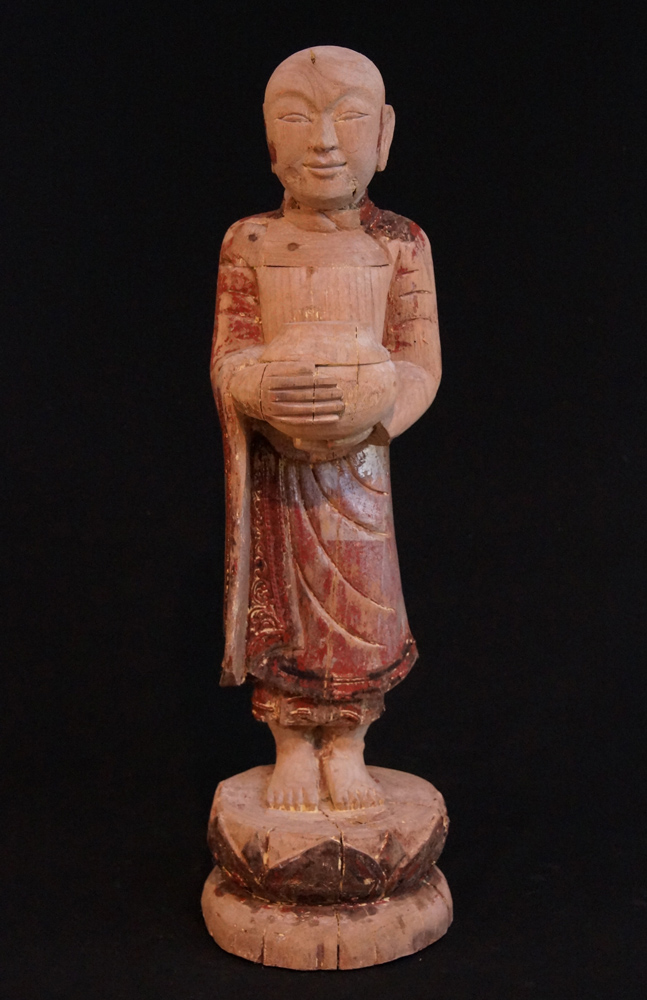 Old standing monk statue from Burma made from Wood