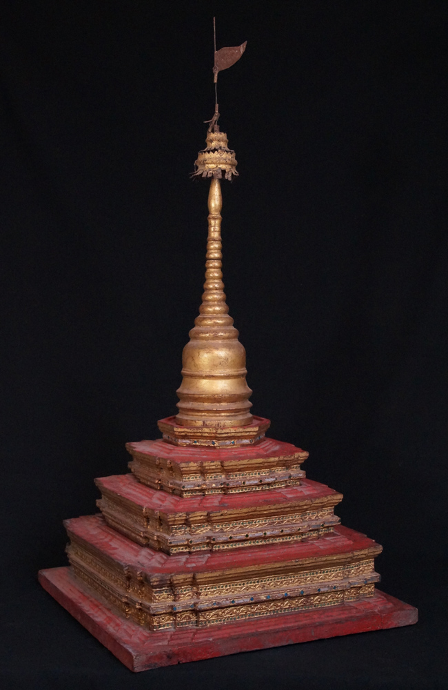 Antique Burmese Pagoda from Burma made from Wood
