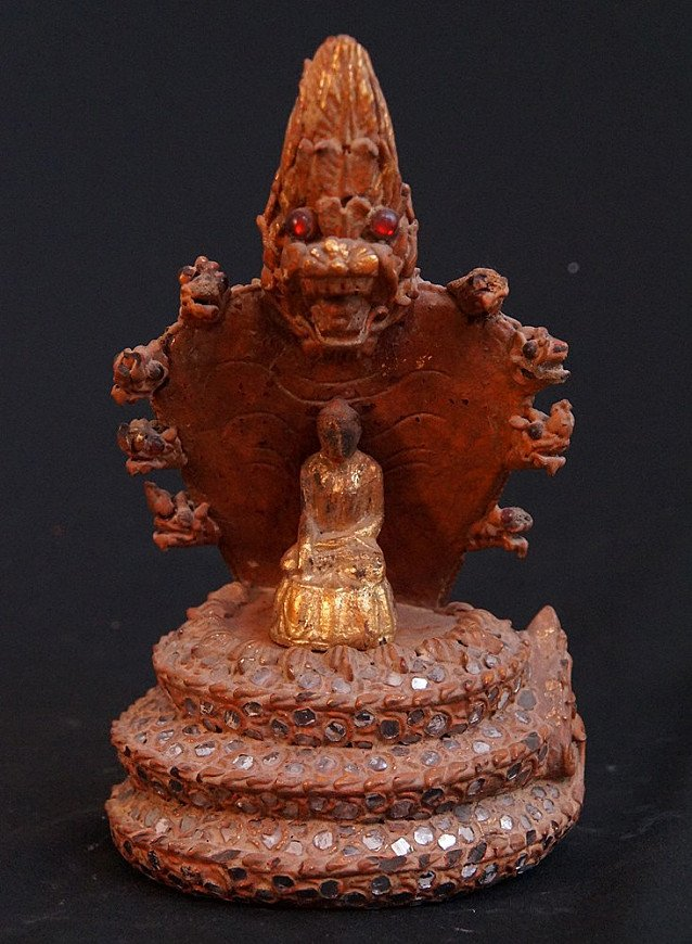 Antique Shan Buddha on Naga