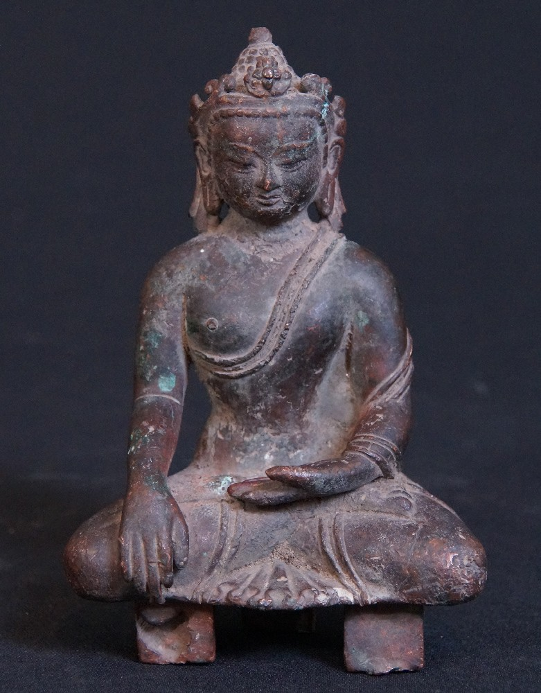 Bronze Nepali Crowned Buddha from Nepal made from Bronze