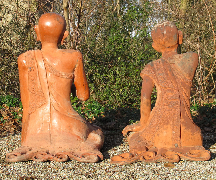 Set of old monks from Burma made from Wood