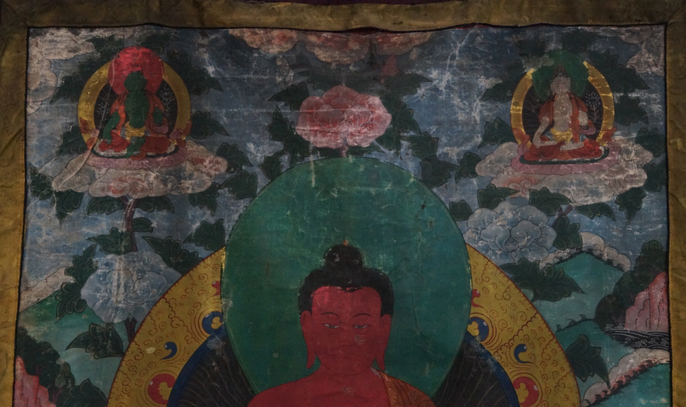 Antique Buddha Thangka from Tibet made from