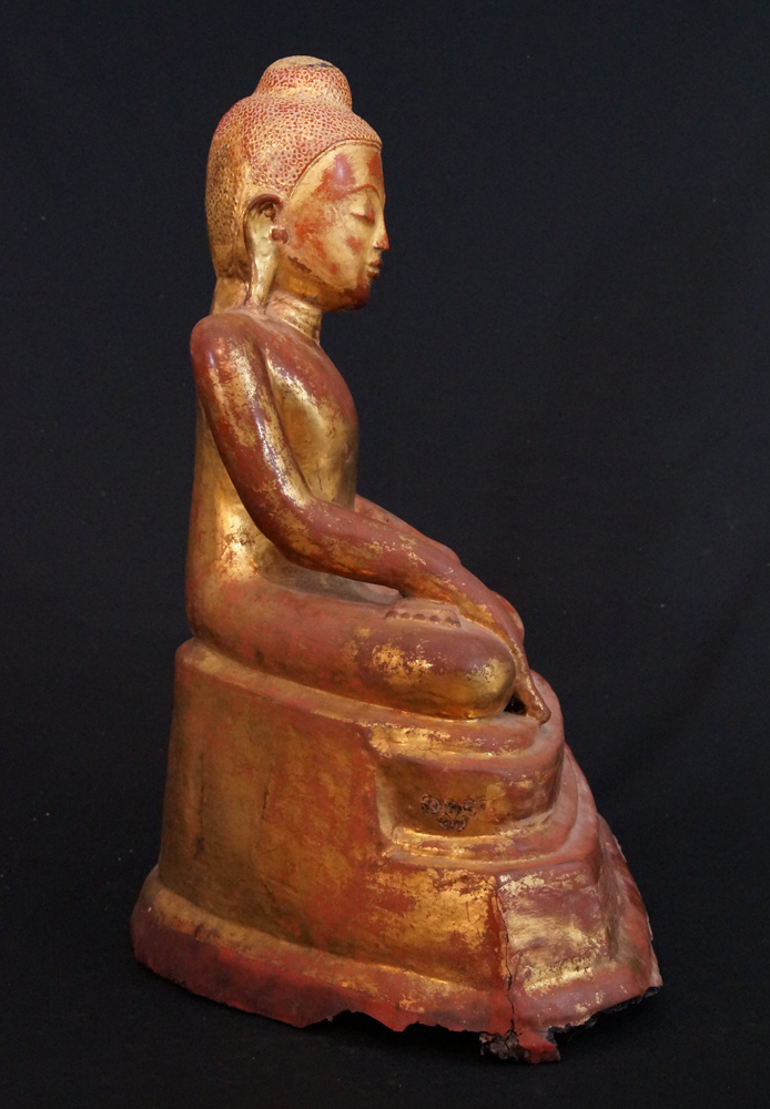 Antique lacquer Buddha from Burma made from lacquer