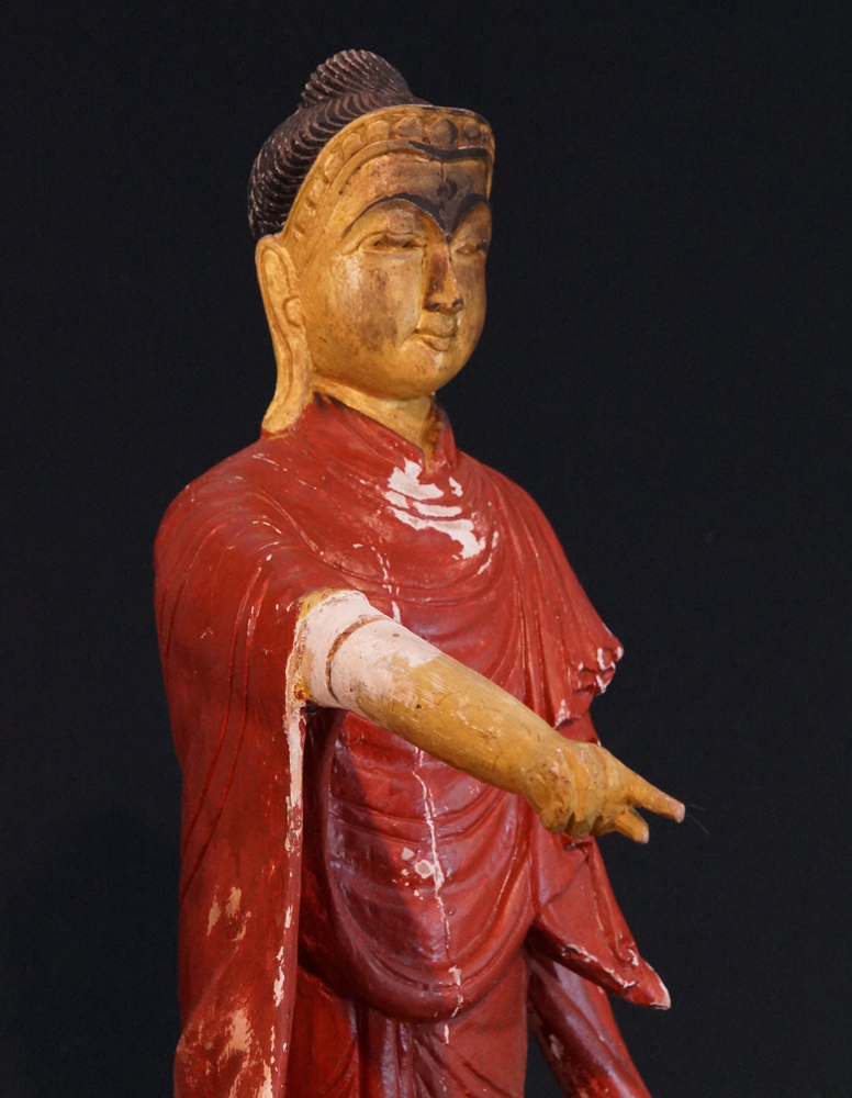 Old wooden pointing Buddha from Burma made from Wood