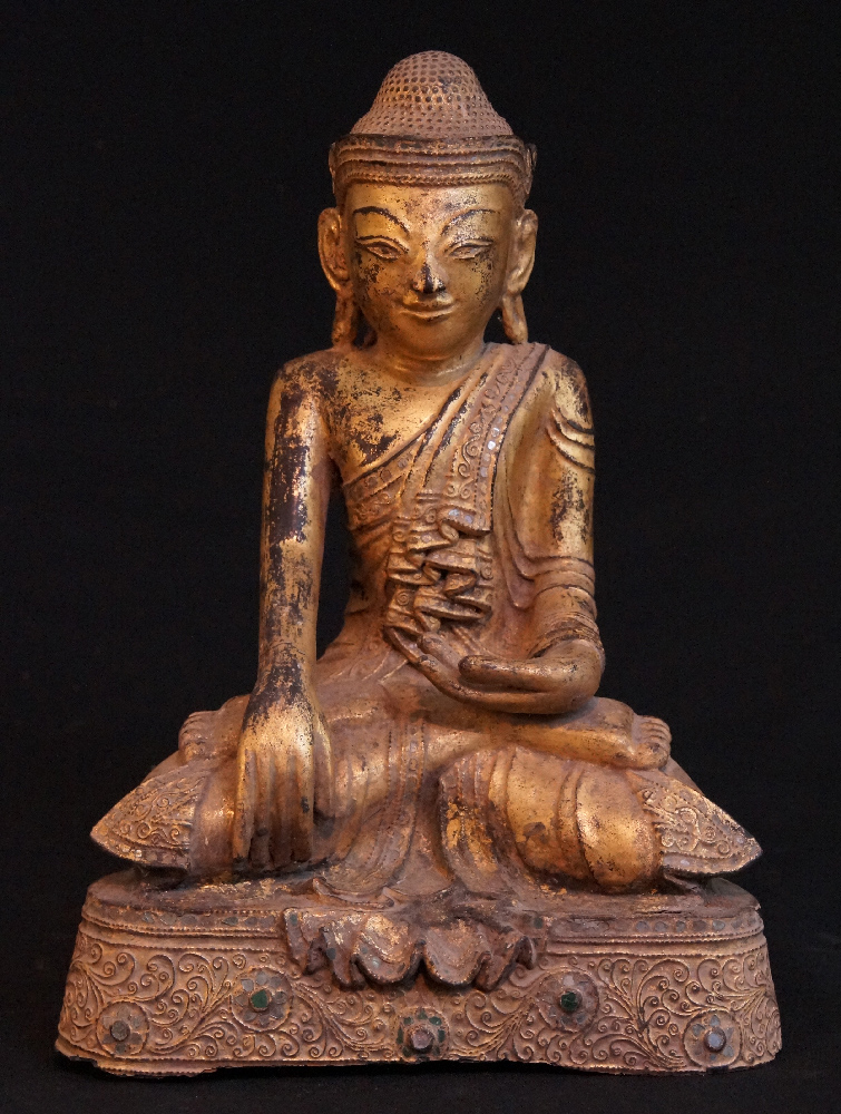 Antique wooden Shan Buddha from Burma