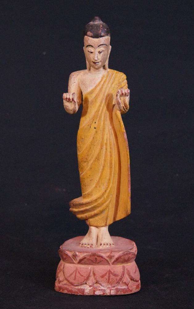 alter stehender buddha figur aus birma gemacht aus holz. Black Bedroom Furniture Sets. Home Design Ideas
