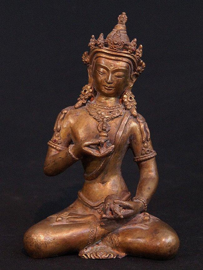 Alte Bronze Nepali Kronen Buddha