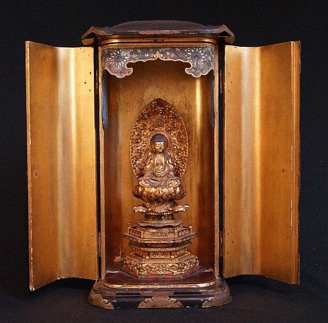 Large antique Japanese Zushi with Amida Buddha