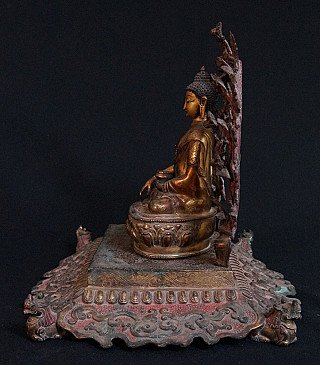 Antique Nepali Throne with Buddha